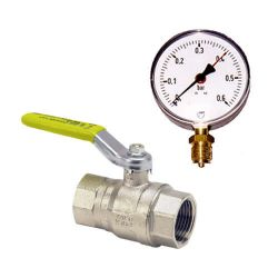 Accessories for air and gas lines: gas cock and manometers