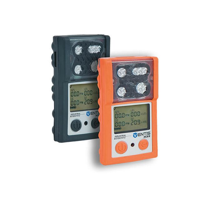 Industrial Scientific Ventis MX4 portable multigas detector 4 gas meter in black and orange
