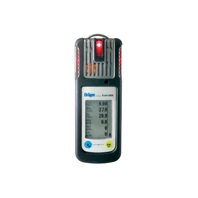 Portable multi gas detector X-am 5600 by Drager, 6 gas monitor dedicated to combustible gas, O2, Cl2, CO, CO2, H2, H2S, HCN, NH3, NO, NO2, PH3, SO2, O3, Amine, Odorant, COCl2 and organic vapors.